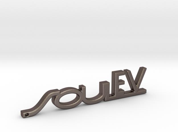Kia Soul EV Keychain in Polished Bronzed Silver Steel
