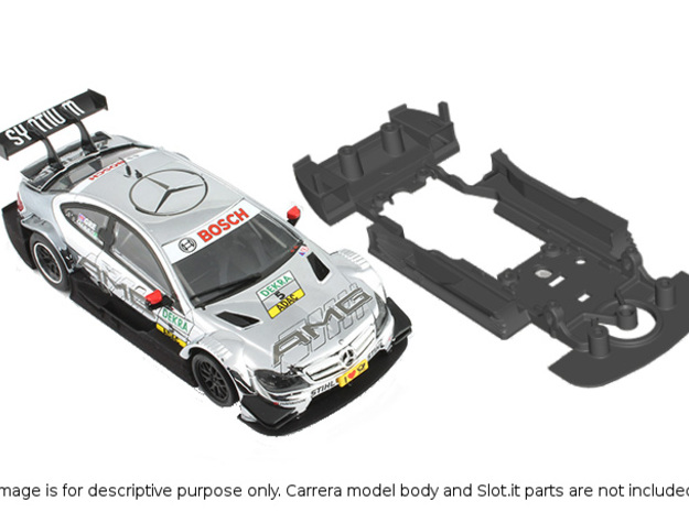 S03-ST2 Chassis for Carrera Merc. DTM STD/STD in White Natural Versatile Plastic