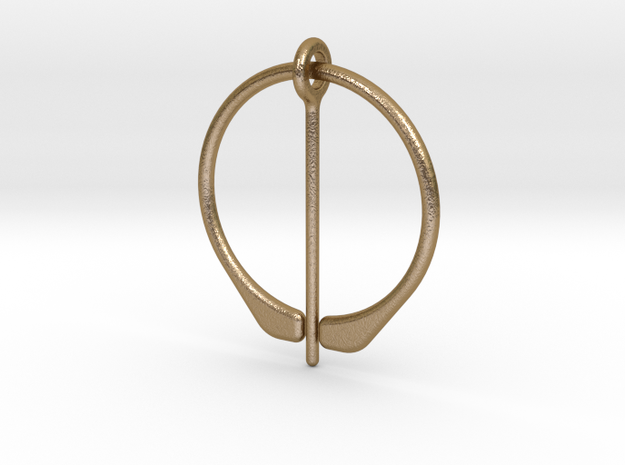Penannular Cloak or Hair Broach in Polished Gold Steel