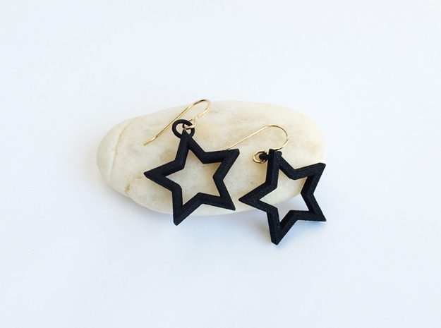 Star Earrings  in Black Strong & Flexible