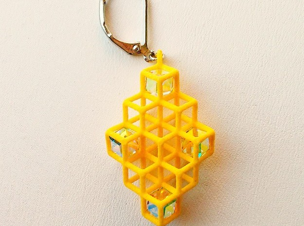 "Cube Earrings 2 ""Points of View"" collection in Yellow Strong & Flexible Polished"