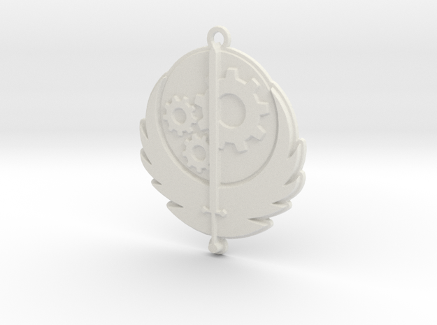 Brotherhood of Steel pendant in White Natural Versatile Plastic