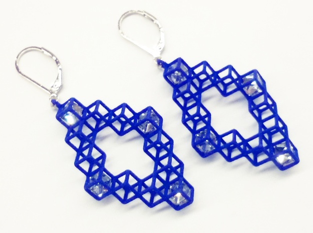 "Cube Earrings 3 ""Points of View"" collection in Blue Strong & Flexible Polished"