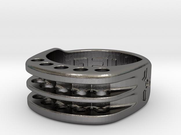US9 Ring XI: Tritium (Stainless Steel) in Polished Nickel Steel