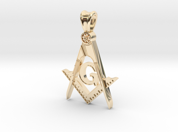 (Small)BLUE LODGE PENDANT in 14K Yellow Gold