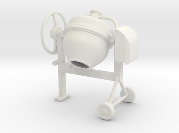 Cement mixer 02. 1:24 Scale in White Natural Versatile Plastic