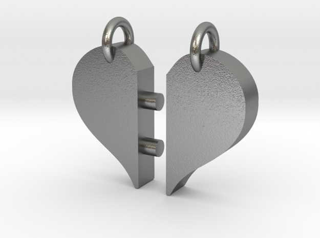Heart Pendants-redesign in Natural Silver