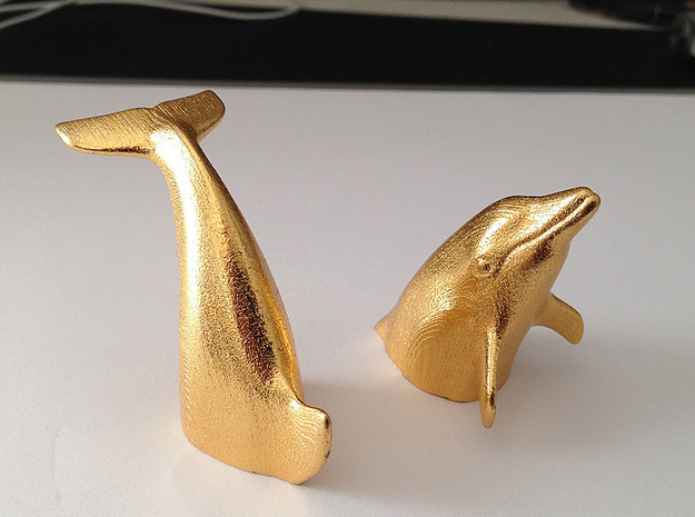 Peeking Dolphin S (Head) in Polished Gold Steel