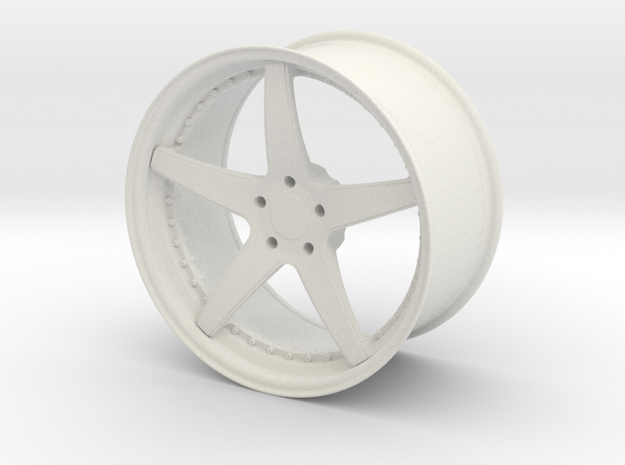 Forged Three Piece Wheel - Five Spoke in White Strong & Flexible