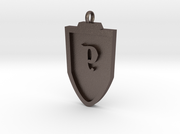 Medieval P Shield Pendant in Stainless Steel