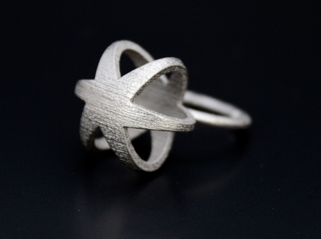 3D STAR GLITZ SPARKLE RING - size 7 in Polished Nickel Steel