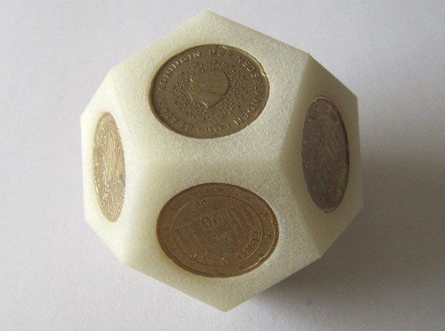 DodEuro 3d printed in Elasto Plastic with coins