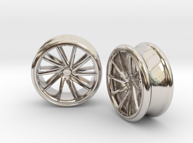Set Of Vossen CVT Gauge EarRings 20mm InnerD in Rhodium Plated Brass