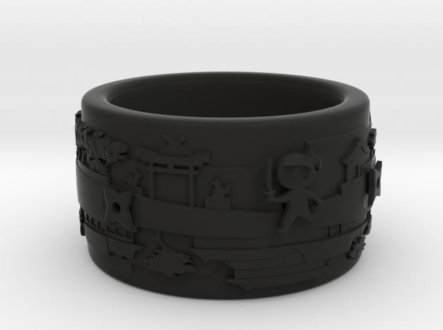 Spinny Ninja Bangle in Black Natural Versatile Plastic