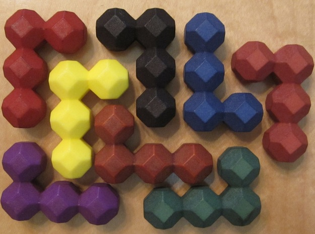 Ell of a puzzle 3d printed The eight identical L pieces.