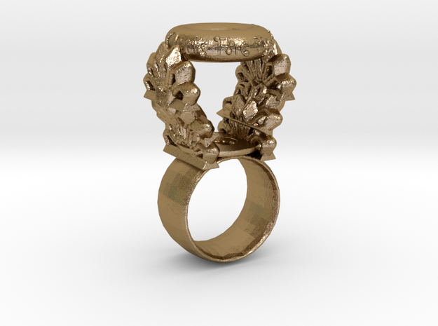 """""""Quit The Typical"""" Ring (Size 5) in Polished Gold Steel"""