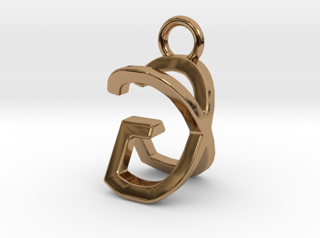 Two way letter pendant - GX XG in Polished Brass