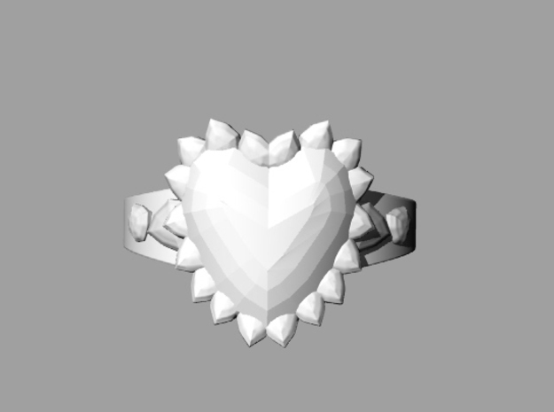 Crystal Heart Ring 3d printed