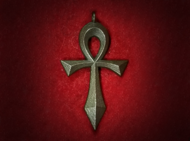 Swept Ankh (Hollow) in Polished Bronze Steel