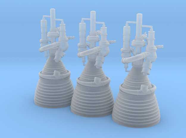 J-2 Engines (1:70 Set of 3) in Smooth Fine Detail Plastic