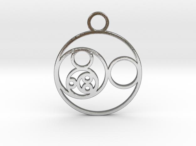 Fibonacci Round Pendant in Polished Silver