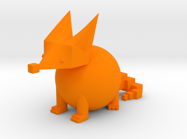 PRIMITIVE SHAPES FOX SCULPTURE 2-INCH in Orange Processed Versatile Plastic