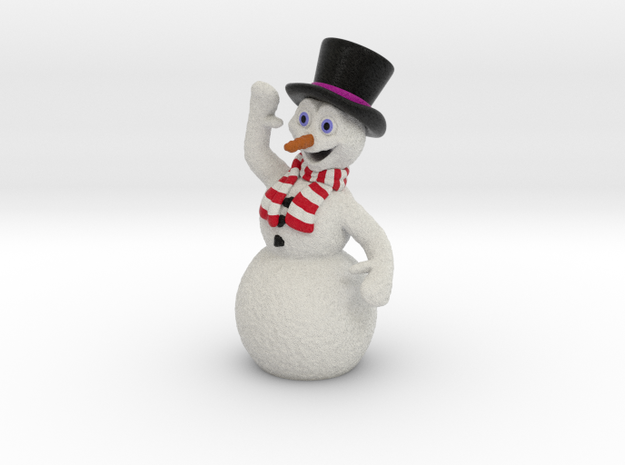 Christmas Snowman Smiling Waving Red-White Scarf in Full Color Sandstone
