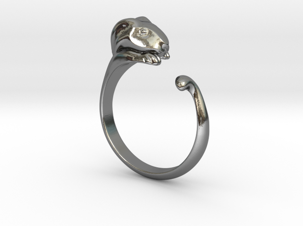 Rabbit Ring - (Sizes 5 to 15 available) US Size 9 in Polished Silver