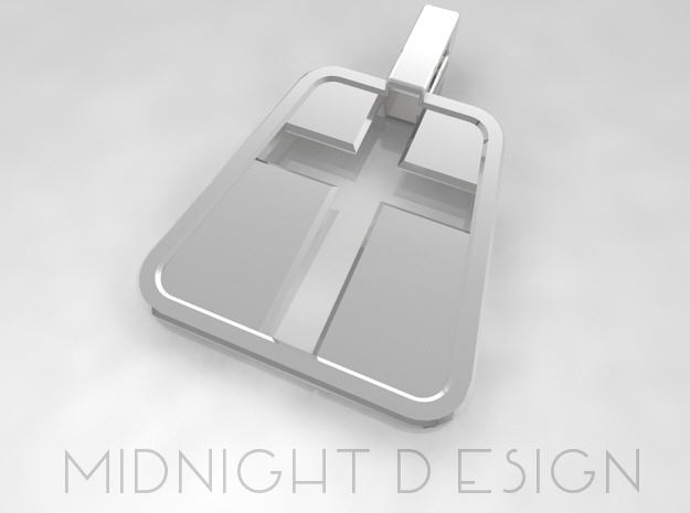 "Cross Pendant ""Inverse"" in Fine Detail Polished Silver"