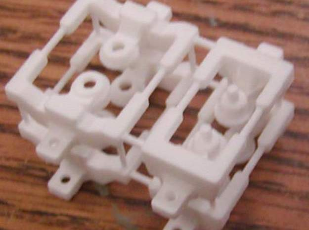 HO articulated joints for Walthers 48' spine car in White Strong & Flexible