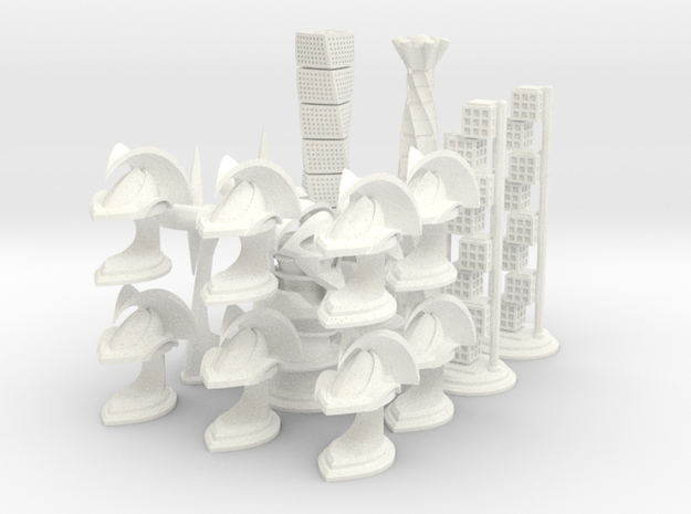 Chess Set Pieces White (PART 4) in White Strong & Flexible Polished