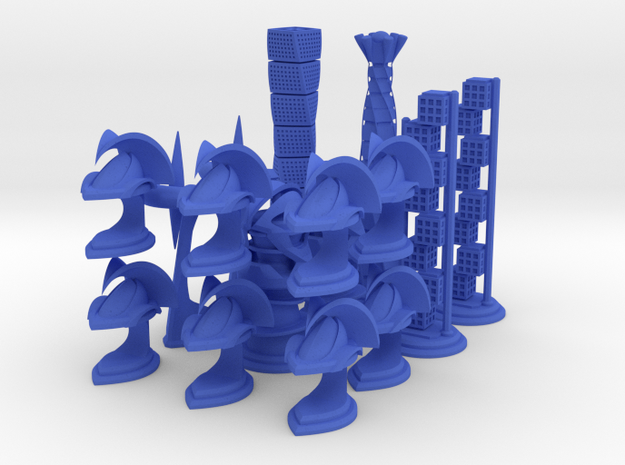 Chess Set Pieces Blue (PART 5) in Blue Strong & Flexible Polished