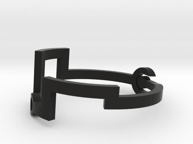 Link [Bangle Bracelet ∅ 6 cm] in Black Strong & Flexible