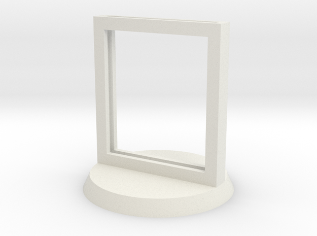"Paper Insert Miniature Stand 1"" (Circular Base) in White Natural Versatile Plastic"