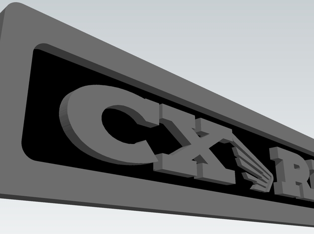 CXwingRR Engine Badge - Right in Polished Metallic Plastic
