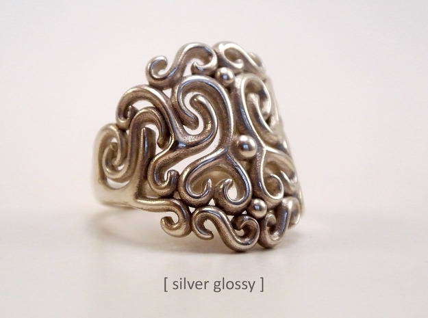 Arabesque Ring in Natural Silver