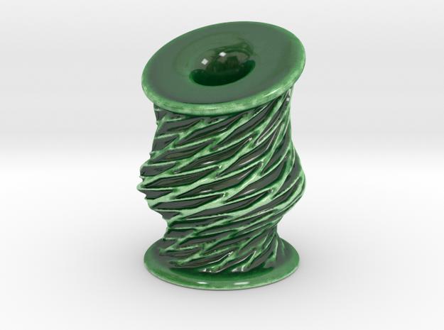 Twisting Lattice Mini Vase in Gloss Oribe Green Porcelain
