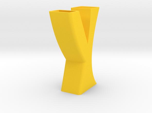 Vase 8 in Yellow Processed Versatile Plastic