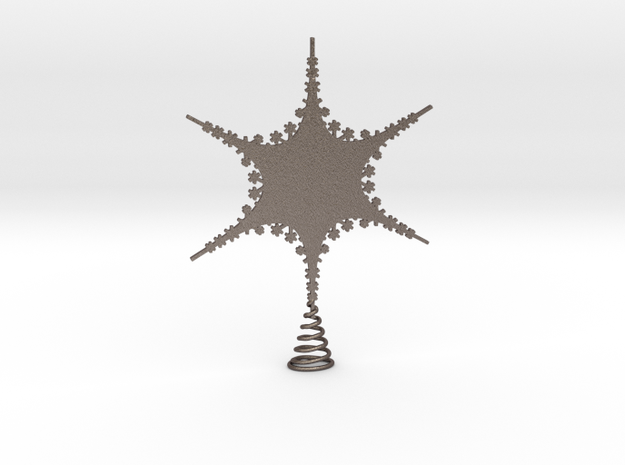 Sparkle Snow Star 2 - Tree Top Fractal - M in Polished Bronzed Silver Steel
