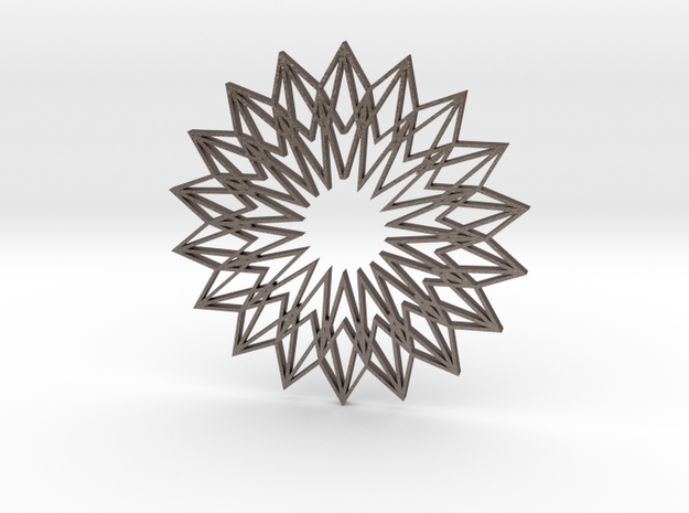 Arabesque: Sunflower in Polished Bronzed Silver Steel
