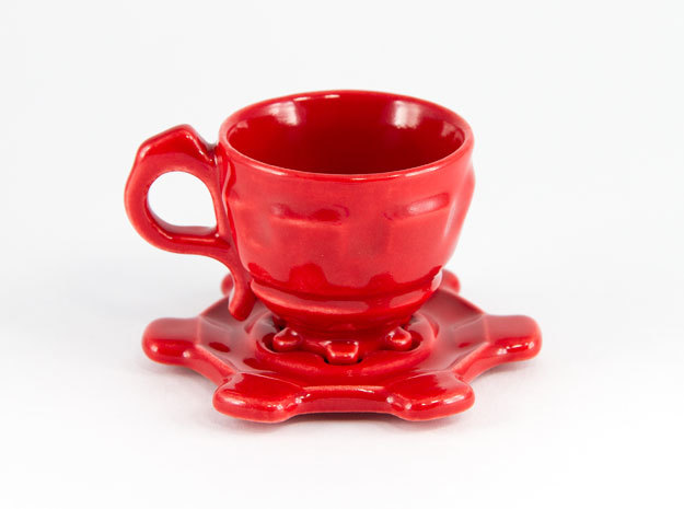Steampunk Cup  and Saucer in Gloss Red Porcelain