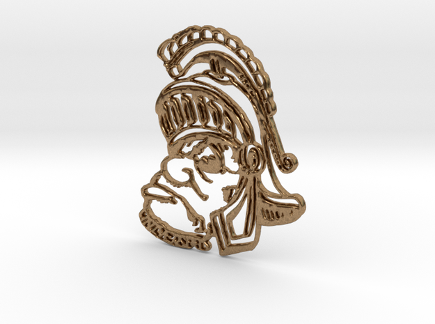 Sparty Pendant  in Raw Brass