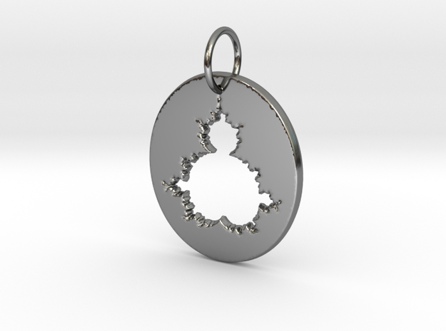 Mandelbrot Pendant in Fine Detail Polished Silver