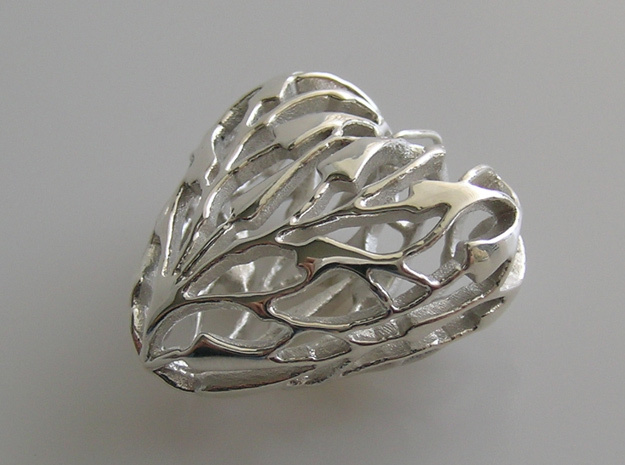 Bamboo Heart Pendant in Fine Detail Polished Silver