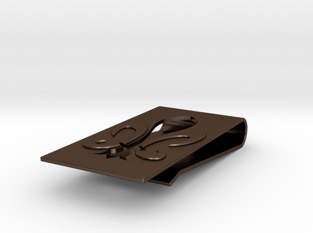 Fluer De Lis Money Clip  in Polished Bronze Steel