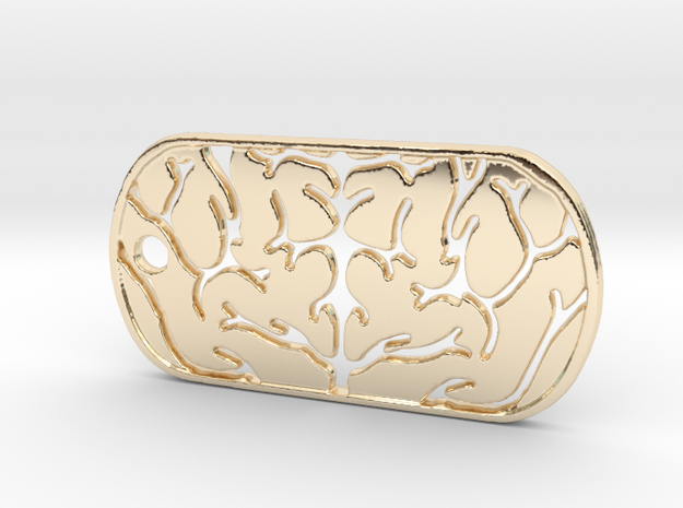 Premium Brain Matter Dog Tag in 14K Yellow Gold