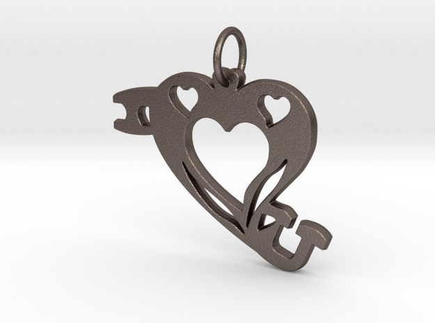 I Heart (Love)You Pendant in Polished Bronzed Silver Steel