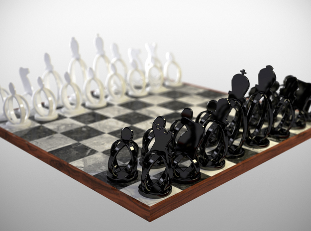 Wireframe Chess set 3d printed a rendering of the set