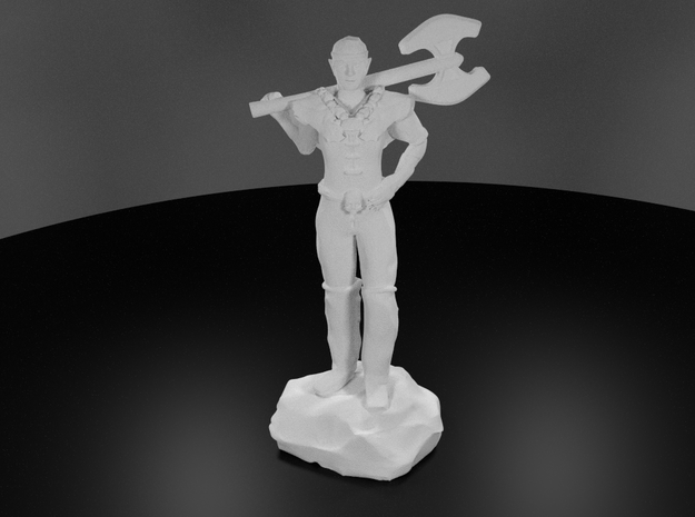 Half Elf Barbarian Woman with Great Axe in White Processed Versatile Plastic