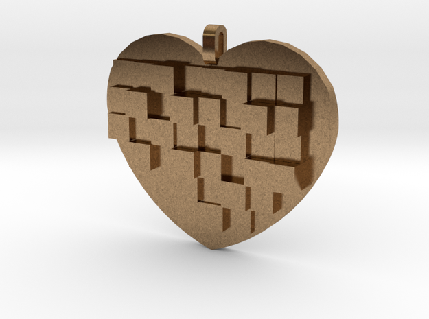 Mosaic Heart Pendant Large in Natural Brass
